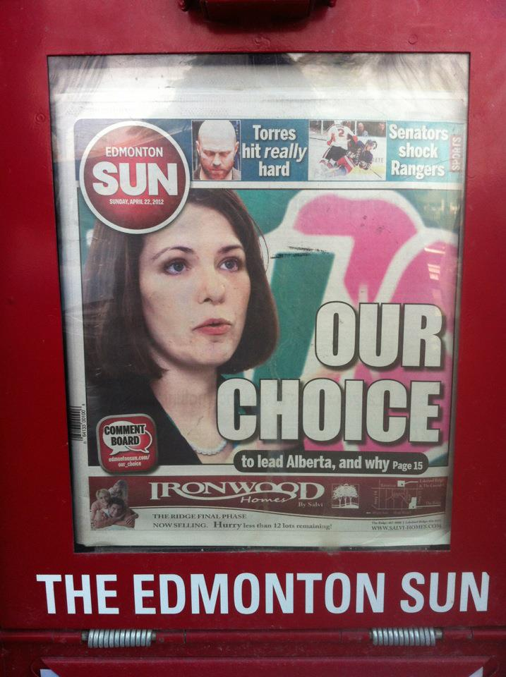 Edmonton Sun's blatant endorsement of the Wild Rose Party