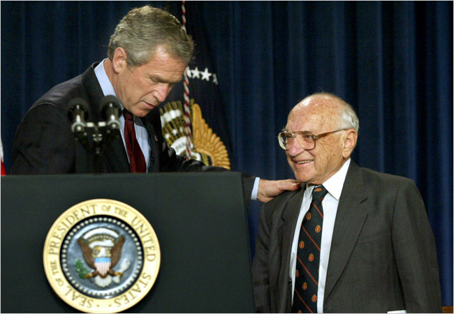 Milton Friedman and George W Bush