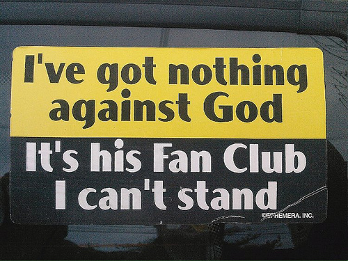 religion bumper sticker