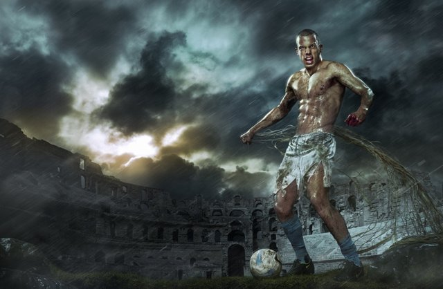 Dutch footballer posing as a gladiator