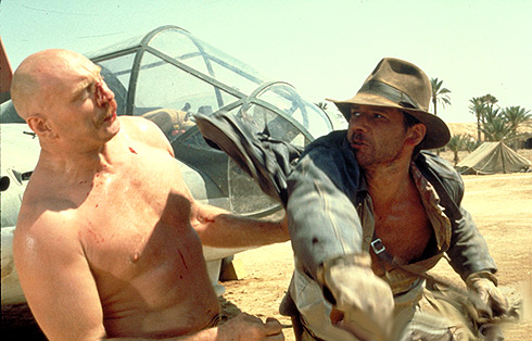 Indiana Jones punching the German mechanic in Raiders of the Lost Ark
