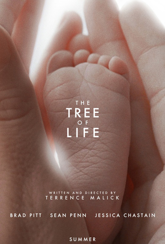 movie poster for The Tree of Life, featuring a baby's foot