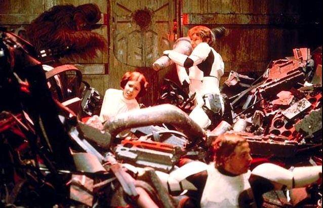 Trash compactor scene from Star Wars