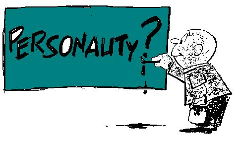 "a cartoon man writing the word ""personality"" on a big board"
