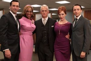 Oprah regular Gayle King doing a skit with the cast of Mad Men